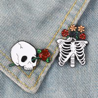 Wholesale rib cage resale online - Death Love Enamel Pin Skeleton Rib cage Rose Flower badge brooch Lapel pin Shirt bag Collar Halloween Jewelry Gift for Friends