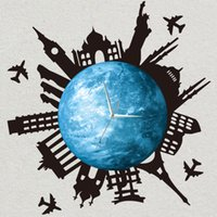flache wanduhr großhandel-Funlife DIY Stadtsilhouette glühende Erde Wanduhr, leuchtende Planetenuhr mit Weltgebäude Aufkleber, Quarz Home Decor