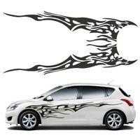 Wholesale flame car decals resale online - Pair Universal Car Side Body Vinyl Sticker Flame Large Graphics Decal DIY Decoration x48cm