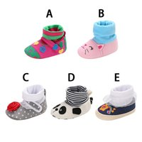 Wholesale cute newborn baby boy shoes resale online - Autumn Winter Baby Boy Girl Cotton Casual Cartoon Shoes First Walkers Newborn Cute Non slip Soft Soled Walking Shoe