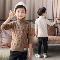 Wholesale teenage clothes styles resale online - Teenage Kids Sweater For Boy Korean Style Turtleneck Sweater New Arrival Fashion Boys Clothing High Collar Knitted Clothes