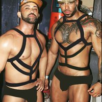 Wholesale black bondage men for sale - Group buy Sexy Nylon Body Chest Harness Men Elastic Shoulder Muscle Harness Strap Stage Costume Night Clubwear Cosplay Party Bondage Belt