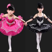 çocuklar dans kıyafetleri toptan satış-Kızlar Jimnastik Leotard Dans Beyaz Kuğu Gölü Kostüm Balerin Çocuk Elbise Çocuk Bale Tutu Takım Q190604