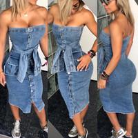 elegante jeanskleider großhandel-Denim Vintage Trägerloses Midikleid 2019 Frau Knopf Bodycon Denim Kleid Ärmellos Schulterfrei Dame Elegantes Kleid Bandage Weibliche Vestidos