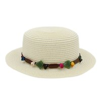 ingrosso boater del cappello-Moda Donna Ladies Summer Straw Boater Hat Sailor Women Bowler Beach Flat Top Cappellino perline Stone Beading Hatband
