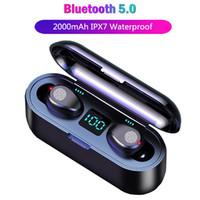 мобильные bluetooth-наушники оптовых-TWS Спортивные наушники Беспроводные наушники F9 Bluetooth Handsfree гарнитура Истинные Беспроводные наушники Bass наушники для Iphone Mobile