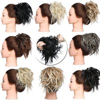 Wholesale donut bun rubber band for sale - Group buy New Messy Scrunchie chignon hair bun Straight elastic band updo hairpiece synthetic hair chignon hair extension for women