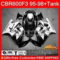 cbr f3 noir blanc achat en gros de-Kit pour HONDA CBR 600F3 CBR600FS 600CC CBR600 F3 95 96 97 98 41HC.195 CBR 600 FS F3 CBR600F3 1995 1996 noir blanc 1997 1998 Carénage + réservoir