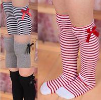 ingrosso lunghe gambe di calze-1-8 anni bambina confortevole cotone a ginocchio calzini dei bambini dei capretti del bambino del bambino di bowknot gamba strisce calza caldo