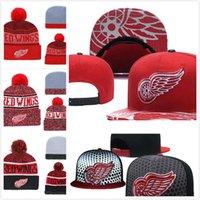 ingrosso berretti rossi neri-Berretto da baseball rosso Detroit Wings Hockey da uomo in maglia regolabile Cappellino regolabile con ricamo Snapback Red Caps Cappello lavorato a maglia nero bianco
