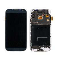 i337 lcd çerçeve toptan satış-SAMSUNG Galaxy S4 Için LCD Çerçeve ile LCD Ekran GT-i9505 i9500 i9505 i337 i9506 i9515 Dokunmatik Ekran Digitizer