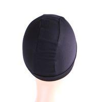 couture élastique noir achat en gros de-Casquettes de perruque de dôme noir Cornrow plus faciles à coudre dans les cheveux Cap de tissage extensible Nylon élastique Respirant Mesh Net Filet 10Pcs / Lot