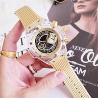 mens relógios cronógrafo venda por atacado-Caixa de aço marca preta moldura esqueleto Dial Mens Relógios de quartzo militar relógio cronógrafo relógio vestido de pulso de luxo Montre Homme YB