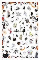 ingrosso colla per decalcomanie-2 Fogli Nail Sticker Halloween Pumpkin trucco fantasma strega trattare colla posteriore di trasferimento di chiodo delle decalcomanie di arte autoadesivi della decorazione R225-R232