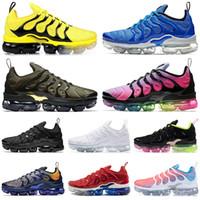 yeni ayakkabılar toptan satış-2019 nike air vapormax plus TN artı erkekler kadınlar koşu ayakkabı üçlü SIYAH VOLT BUMBLEBEE ŞARAP ABD Üzüm serin gri erkek eğitmenler moda spor sneakers