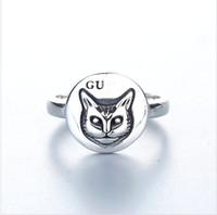 index finger ring fashions 도매-블라인드 사랑에 대한 925 스털링 실버 패션 복고 새끼 고양이 반지 검지 손가락 반지 여성과 남성을위한 반지