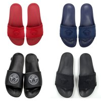 sandália vermelha plana casual venda por atacado-2019 Moda de Luxo Mulheres Designer de Chinelos Novos Sandálias de Socorro de Medusa Vermelho Preto Flats Bottoms Slides Sapatos Casuais Ao Ar Livre Tamanho 36-46