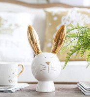 Wholesale animal piggy banks resale online - Creative birthday gift piggy bank TV cabinet decoration Ceramic duke rabbit piggy bank decoration