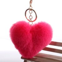 Wholesale key phone holder shapes for sale - Group buy Fur Love Heart Shape Keyring Romantic Cute Soft Pom Pom Pendant Phones Car Bag Charm Tag Key Chain Keychain Key Ring Holder