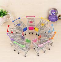Wholesale supermarket shopping trolleys resale online - Mini Supermarket Handcart Trolley Toy Baby Toys Carts Mode Storage Folding Shopping Cart Basket Toys Children Novelty Items YYSY374