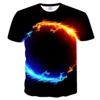 ingrosso drago americano-2019 T-shirt estiva da uomo europea e americana T-shirt con stampa digitale 3D T-shirt estiva con drago di fuoco d'acqua