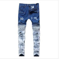 jeans duplo com zíper venda por atacado-Homens Panelas Primavera Elasticidade Cor Dupla Buracos Jeans Locomotiva Jeans Skinny Zipper Meados de Cintura Moda Calças Rasgadas Leggings