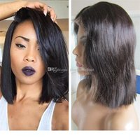 Wholesale best glueless lace front wigs resale online - H Short BOB Full Lace wigs inch Straight Human Hair Best Quality Glueless Lace Front wigs
