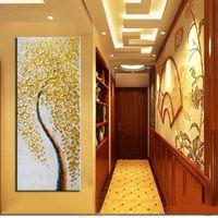 arte do quadro do ouro venda por atacado-1 Pcs Cópias Da Lona Arte Da Parede Poster Moderna Abstrata Árvore De Dinheiro De Ouro Imprime Na Lona Para Sala de estar Decoração de Casa Sem Moldura
