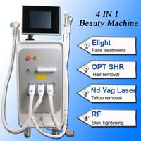 neueste laser-haarentfernung maschine großhandel-Neueste Multifunktionsschönheitsausrüstung 4 in 1 Elight + OPT SHR + RF + Nd Yag Laser-Schönheitsmaschine SHR-Haarabbaumaschine