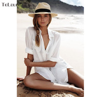 ingrosso la copertura sexy della camicia-Bikini Beach Dress Tunic Pareo per le donne Kaftan 2018 New Cotton Shirt a maniche lunghe Tuta sexy Beach Cover Up Pareo Praia
