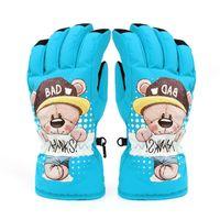 eldiven eldivenleri giydir toptan satış-Kayak eldivenleri kalınlaşmak sıcak su geçirmez rüzgar geçirmez pamuk çocuk açık oyun beş eldiven eldiven, güzel kötü ayı süper ılık eldiven