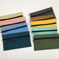 kalemler için fermuar torbalar toptan satış-YENI Saf renk kanvas çanta Kalem çanta çanta fermuar kalem torbalar DIY kozmetik Çanta makyaj çantaları messenger çanta T2I5241