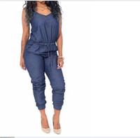 elegante mono azul al por mayor-moda para mujer sin mangas Denim Jeans mono mono negro / azul hamaca sin mangas verano elegante damas pantalones largos