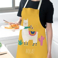 Wholesale cute cleaning aprons for sale - Group buy Cute Alpaca Women Men Kitchen Aprons Waterproof Cooking oil proof Cotton Linen Antifouling Chef Apron Cleaning cm