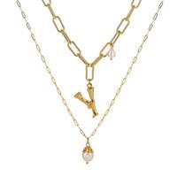 asian mens anhänger großhandel-mehrschichtige Perlenanfangsbuchstabehalsketten der Luxuxentwerferschmucksachefrauen-Männer gefror heraus Ketten hängende Halskettenschmucksachen NZ431-X