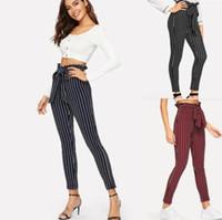 frauen hosen groihandel-Gestreifte Hose Frauen Gestreifte Bowknot Hose Mode Falbala Hosen hohe Taille Slim Fit Lässige Vintage Hose Outdoor Hosen