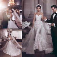 Wholesale white black appliques wedding dress online - Glamorous Bling Said Mhamad Sequins Beads Wedding Dresses Detachable Skirt Lace Marriage robe de mariée Arabic Bride Dress Bridal Gowns