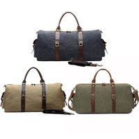 Wholesale vintage leather luggage resale online - 3 Styles Vintage Leather Bag Carry On Luggage Bags Canvas Weekender Overnight Tote Men Women Travel Duffel Bags Hiking Bag G158S F