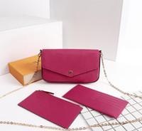mini portefeuilles dames achat en gros de-Mini sac classique POCHETTE de marque de mode pour dames mono / épi trois pièces en cuir femmes sacs à bandoulière en cuir sac à bandoulière pochette portefeuilles