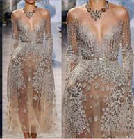 Wholesale kim kardashian blue dress sexy resale online - ZuhLair murad Prom Dress Yousef aljasmi Kim kardashian Ziad naked Long sleeve V Neck Beaded Sheer Formal Event Party Gowns Customize