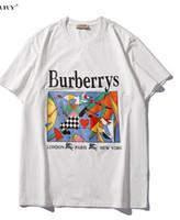 peinture des huiles de chevaux achat en gros de-2019 nouveau tee shirt blanc hommes femmes lettre logo peinture à l'huile cheval imprimer T-Shirt manches courtes O-cou T-Shirt gros S-XXL
