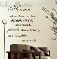 Wholesale people animals love resale online - Large Size X Cm Home Love Resides Family Quotes Wall Stickers Home Decoration Vinyl Wall Decor Stickers Q L