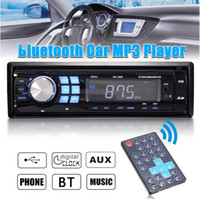 Wholesale mp4 bluetooth speaker resale online - 12V Auto Car bluetooth Stereo MP3 Radio Audio Player In Dash FM Transimittervs Aux Input Receiver USB Multi color LCD display