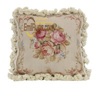 Wholesale vintage luxury beds for sale - Group buy retro needlepoint cushion for bed outdoor K mesh handmade cuhsions embroidery lace vintage pastoral luxury garden