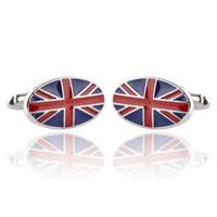 медный флаг оптовых-Мужчины запонки wholesaleretail топ медь синий цвет британский флаг дизайн запонки британский флаг запонки для свадьбы