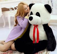 dev doldurulmuş oyuncak pandalar toptan satış-Yeni Dev Sevimli Yumuşak Hayvan Panda Peluş Oyuncak Büyük Dolması Karikatür Pandalar Bebek Yastık Çocuklar Mevcut 59 inç 150 cm