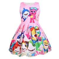 günün kutlu elbiseleri toptan satış-2019 Çocuklar Kızlar Karikatür Elbise Bebek Köpekbalığı Prenses Elbiseler Yaz Çocuk Kolsuz Etek Cosplay Parti TUTU Elbise Brithday Hediyeler