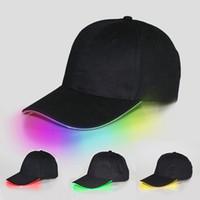 ingrosso fari di luce neri-Berretto da baseball LED Flash Berretto da baseball Moda LED Bagliore illuminato Club Party Nero Tessuto da viaggio Cappello Berretto da baseball Faro