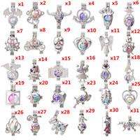 aretes de medallón al por mayor-600 Diseños Para Usted elige - Perlas de perlas de jaula Jaula Locket Colgante Aroma Aceite Esencial Difusor Locket DIY Collar Pendientes Pulsera Joyería