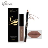 Wholesale dark brown lip liner online - NICEFACE non stick cup does not fade lip gloss lip liner combination Explosive liquid lipstick